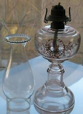 Antique Transfer & Hand Decorated Clear Glass #1 Oil Lamp Amethyst Tint Glows