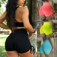 Womens Anti-Cellulite Yoga Shorts Push Up Gym Fitness Compression Summer Pants G