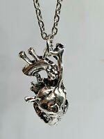 "Anatomical Heart Pendant 18"" Necklace Silver Biology Human Alternative Valentine"