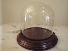 "Glass Dome with Hardwood Base  4 x 4"" high"