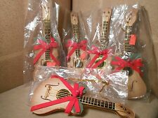 5 WOODEN GUITAR ORNAMENTS CHRISTMAS RED BOWS HOLLOW WOOD IN PLASTIC NO CARD