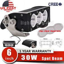 6inch 30W Spot Lens CREE LED Light Bar Single Row Offroad Truck+Clear Flood Lens
