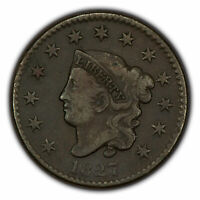 1827 1c Coronet Head Large Cent - Mid-Grade Semi-Key Date - SKU-X1552