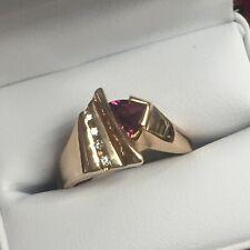 18K ROSE GOLD MODERN STYLE PURPLE TOURMALINE & DIAMOND RING
