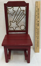 "Doll Chair Wooden Red w/ Brass Wire Back Shooting Star 12"" Display Decor"