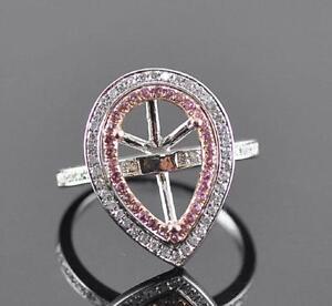Pear Cut 9x13mm 14K White Gold Settings Engagement Wedding  Ring N101