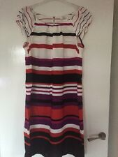 Size 12 Striped Cap Sleeved Dress In Multi Colours