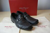 Salvatore Ferragamo Grandioso Nero Calf Black Pebble Grain Loafers 9.5 EE W/Bags