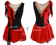 Ice skating dress Competition Figure Skating Twirling Costume black red handmade