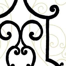 Wallpaper Designer Iron Gate Black Trellis w/ Gold Accents on Eggshell White
