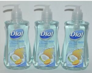Lot of (3) Dial Liquid Hand Soap, Hydrating Coconut Water & Mango, 7.5 oz Each
