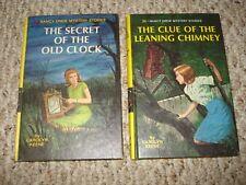 Nancy Drew Books Secret of Old Clock 1959 #1 & Clue of Leaning Chimney 1967 #26