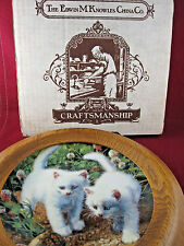 "Vtg '87 Brackenbury Cat Plate w/Coa/box Tripar Frame ""White American Shorthairs"""