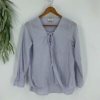 Lucky Brand Shirt Blouse Womens Size Small Blue Striped Surplice Lace Up Top