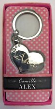 ALEX Camille heart silver color personalized KEYCHAIN BRAND NEW IN PACKAGE