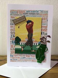 Handmade Grandad Fathers Day Card Golf  5x7 Inch.