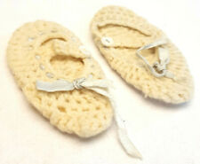 Vintage Handmade Knit Crochet Baby/Infant Slippers Booties-Off White-Ribbon