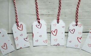 Pack of 6 Pink and Red Heart Gift Tags with Red String