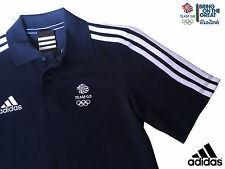 ADIDAS TEAM GB ELITE ATHLETE NAVY BLUE COTTON POLO SHIRT Size XL Chest 48/50