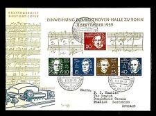 GERMANY BUND 1959-9-8  BEETHOVEN  BLOCK FDC  CV € 140    MUSIK  VF