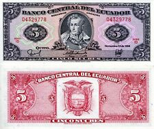 ECUADOR 5 Sucres Banknote World Paper Money UNC Currency Pick p113d sign variety