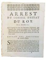 Argeliers 1707 Argens Berriac Paulhac Aude rare Arrêt du roi Languedoc