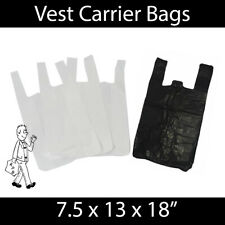 More details for white black vest carrier bags s2 strong reusable shopping supermarket groceries