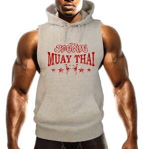 Men's Red Muay Thai Stars Gray Sleeveless Vest Hoodie MMA Fighting Beast Choke