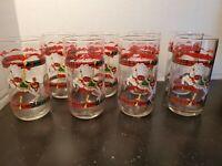 Vintage 1990 Christmas House of Lloyd  Carousel Horse Drinking Glasses Set of 8