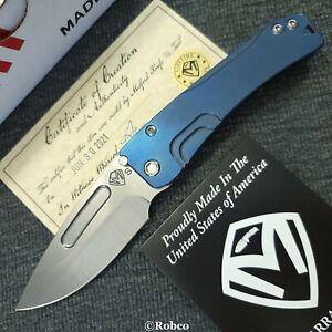 Medford Slim Midi Marauder S35VN Satin Drop Point Blue Anodized Titanium