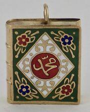 Vintage 22K Yellow Gold Enamel Quran Koran Book Pendant Charm 2.8 Grams