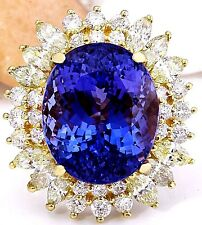 18.15CTW NATURAL TANZANITE AND DIAMOND RING IN 14K YELLOW GOLD
