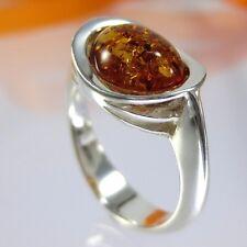 A413 Amber Bernstein Ring 925 Sterlingsilber Schmuck Modern verschidene Größen