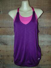 Oakley 2 in 1 Womens Athletic Sports Bra Tank w/ Loose Shirt Pink/Purple Size XS