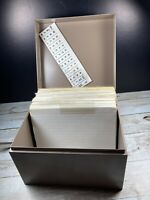 Vintage Metal Index Card Filing Box 6.5 X 4.5 With Index Cards & Dividers + Tabs