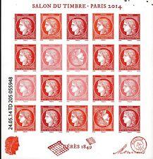 BLOC   NEUF SALON DU TIMBRE PARIS 2014 CERES  VERMILLON  LUXE