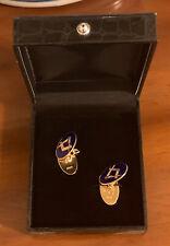 Vintage 9ct Yellow Gold Oval Masonic Blue Enamel Cufflinks