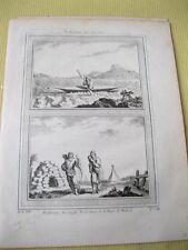 Vintage Print,ESQUIMAUX,,c1749,Umiak Kaiak ou Canot a un seul Homme