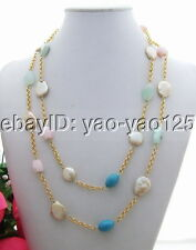 N130726 Charming! Pearl&Turquoise&Opal&Quartz Necklace
