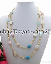 """Pearl Turquoise Opal Quartz Necklace 44"""" Long necklace"""