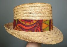 "Small 7 Vintage Straw Hat Hawaiian Bark Cloth Batik Twill Band 2"" Brim"