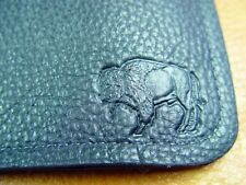 Black Bison BUFFALO LEATHER TriFold Wallet handcrafted disabled Navy vet 5013
