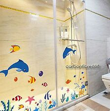 Dolphins Fish Coral Ocean SEA REMOVABLE Wall Stickers Bathroom Kids Room Decals