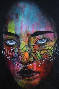 Peinture sur toile 46x38cm, La Mélancolique, oeuvre Street Art signée Umo Masada