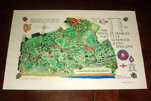 Vintage ROYAL ST. GEORGE'S KENT, ENGLAND GOLF COURSE PRINT - 2021 British Open