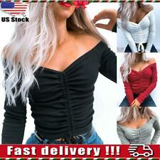 Womens Sexy Slim Fit Off Shoulder Crop Tops Ladies Bodycon V-neck Blouse T-shirt