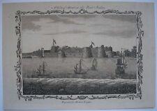 1771 INCISIONE vista di Surat indiano FORT porto fiume tapti navi Gujarat in India