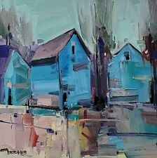 JOSE TRUJILLO Oil Painting IMPRESSIONISM BLUE HOUSES CONTEMPORARY ARTWORK NR