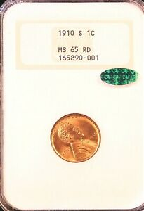 1910 S Lincoln Wheat Cent NGC MS65RD CAC Rich Red Beautiful Luster PQ #G85