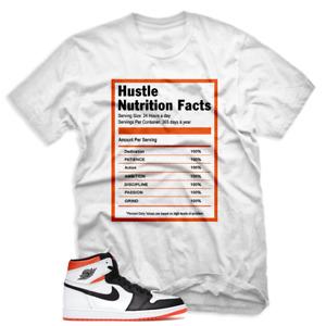 Tee to match Air Jordan 1 Retro High OG Electro Orange. Hustle Facts White Shirt